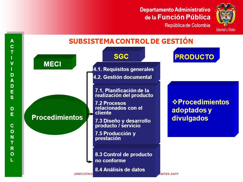 DIRECCIÓN DE CONTROL INTERNO Y RACIONALIZACIÓN DE TRÁMITES- DAFP Departamento Administrativo de la Función Pública República de Colombia MECI SGC Proc