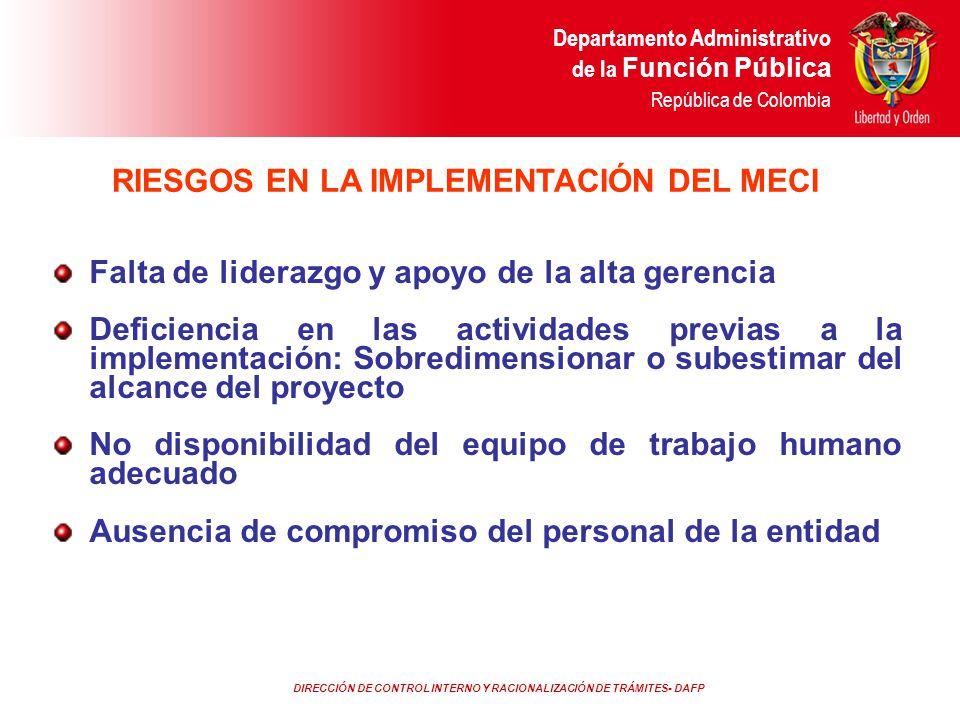 DIRECCIÓN DE CONTROL INTERNO Y RACIONALIZACIÓN DE TRÁMITES- DAFP Departamento Administrativo de la Función Pública República de Colombia Falta de lide