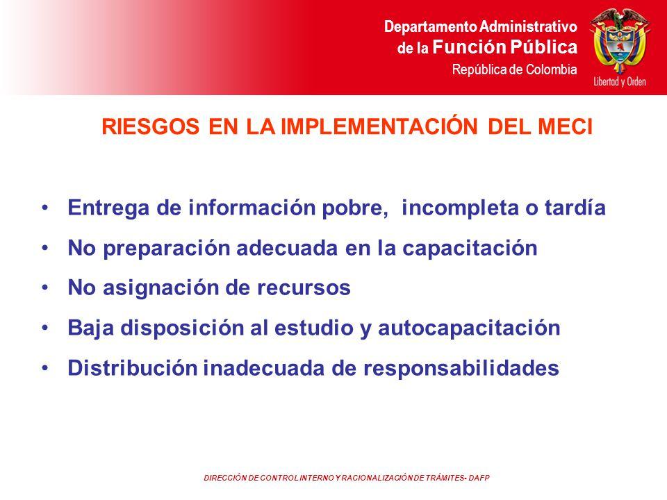 DIRECCIÓN DE CONTROL INTERNO Y RACIONALIZACIÓN DE TRÁMITES- DAFP Departamento Administrativo de la Función Pública República de Colombia Entrega de in