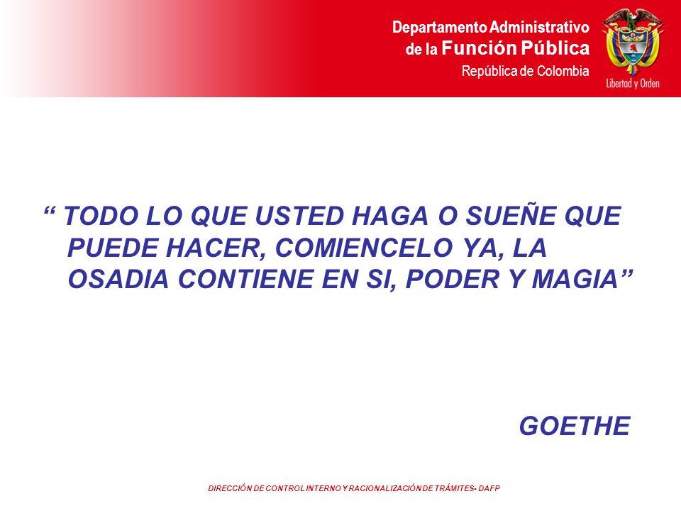 DIRECCIÓN DE CONTROL INTERNO Y RACIONALIZACIÓN DE TRÁMITES- DAFP Departamento Administrativo de la Función Pública República de Colombia TODO LO QUE U