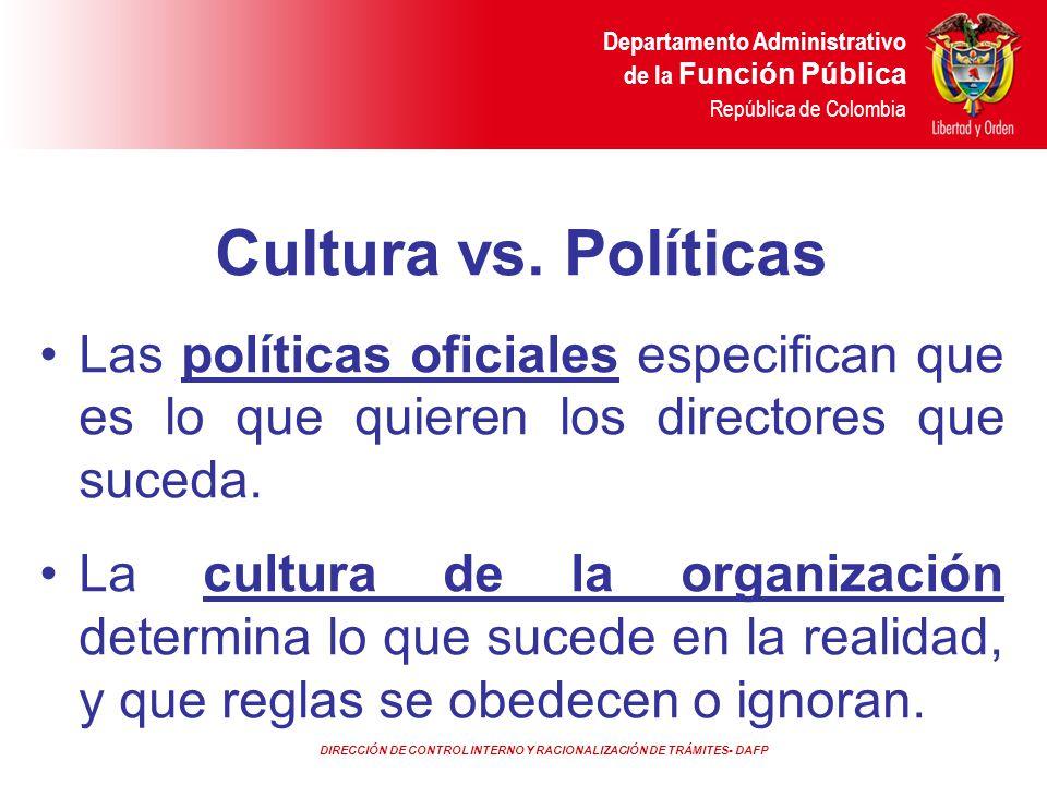 DIRECCIÓN DE CONTROL INTERNO Y RACIONALIZACIÓN DE TRÁMITES- DAFP Departamento Administrativo de la Función Pública República de Colombia Cultura vs. P