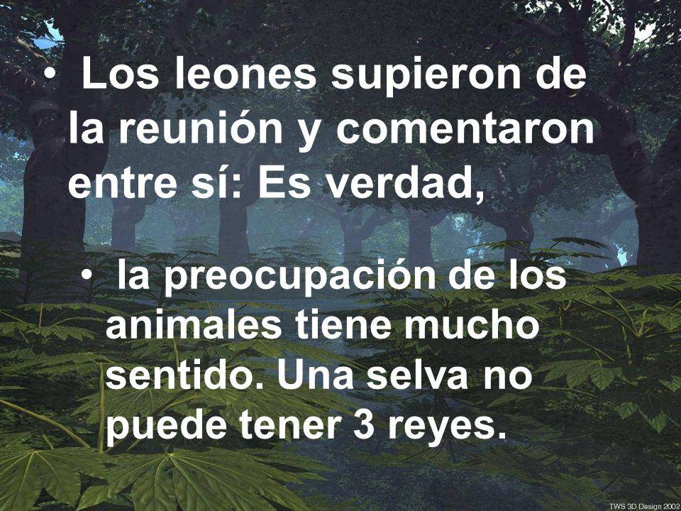 Los leones supieron de la reunión y comentaron entre sí: Es verdad, la preocupación de los animales tiene mucho sentido.