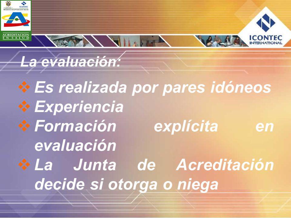 Es realizada por pares idóneos Experiencia Formación explícita en evaluación La Junta de Acreditación decide si otorga o niega La evaluación: