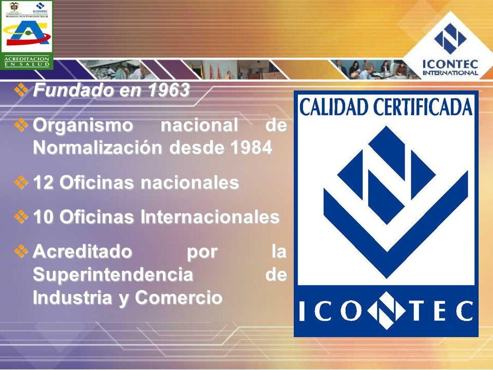 Fundado en 1963 Fundado en 1963 Organismo nacional de Normalización desde 1984 Organismo nacional de Normalización desde 1984 12 Oficinas nacionales 1