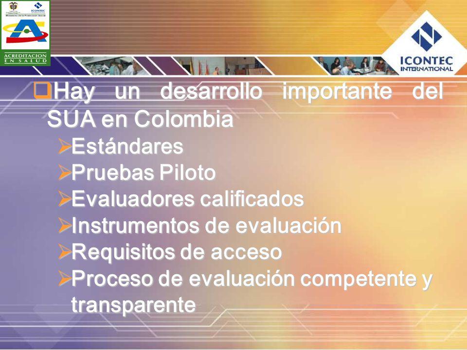Hay un desarrollo importante del SUA en Colombia Hay un desarrollo importante del SUA en Colombia Estándares Estándares Pruebas Piloto Pruebas Piloto