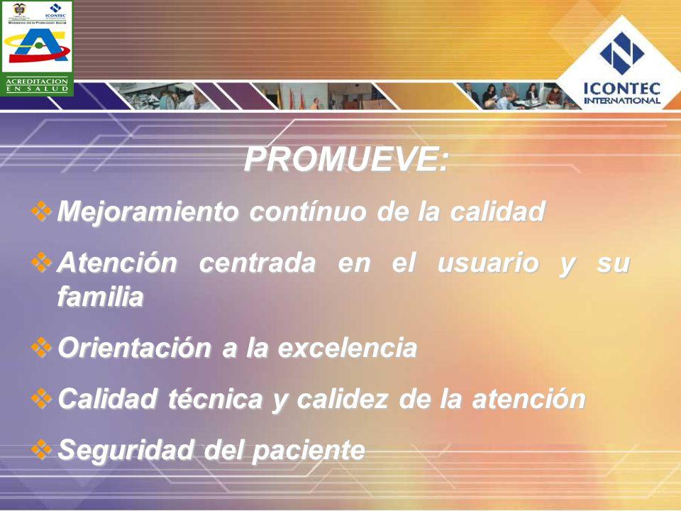 PROMUEVE: Mejoramiento contínuo de la calidad Mejoramiento contínuo de la calidad Atención centrada en el usuario y su familia Atención centrada en el