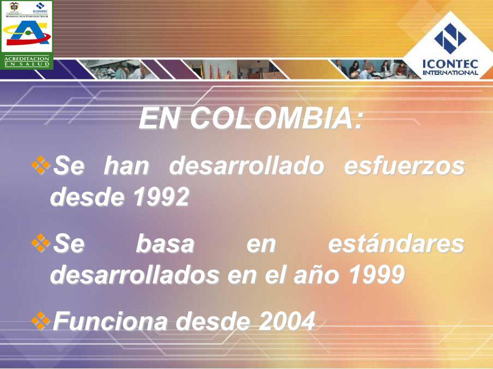 EN COLOMBIA: Se han desarrollado esfuerzos desde 1992 Se han desarrollado esfuerzos desde 1992 Se basa en estándares desarrollados en el año 1999 Se b