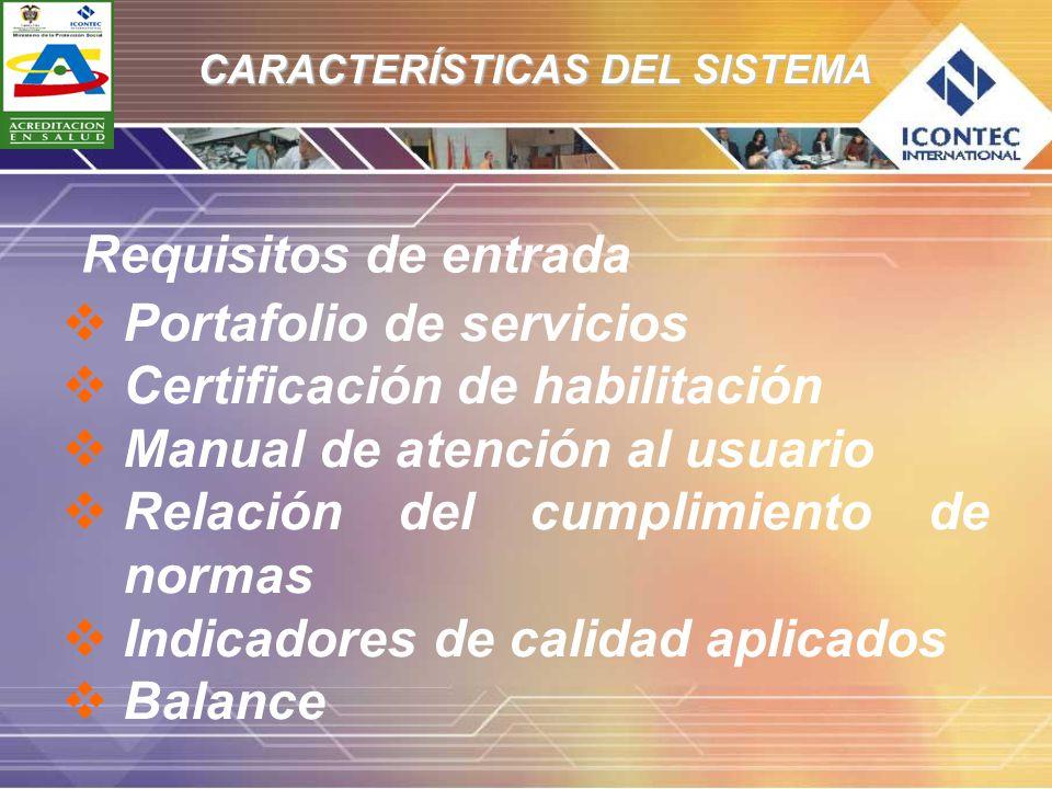 CARACTERÍSTICAS DEL SISTEMA Portafolio de servicios Certificación de habilitación Manual de atención al usuario Relación del cumplimiento de normas In