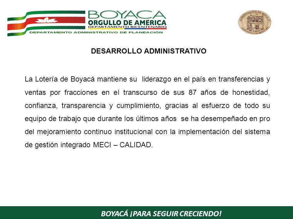 BOYACÁ ¡PARA SEGUIR CRECIENDO! La Lotería de Boyacá mantiene su liderazgo en el país en transferencias y ventas por fracciones en el transcurso de sus