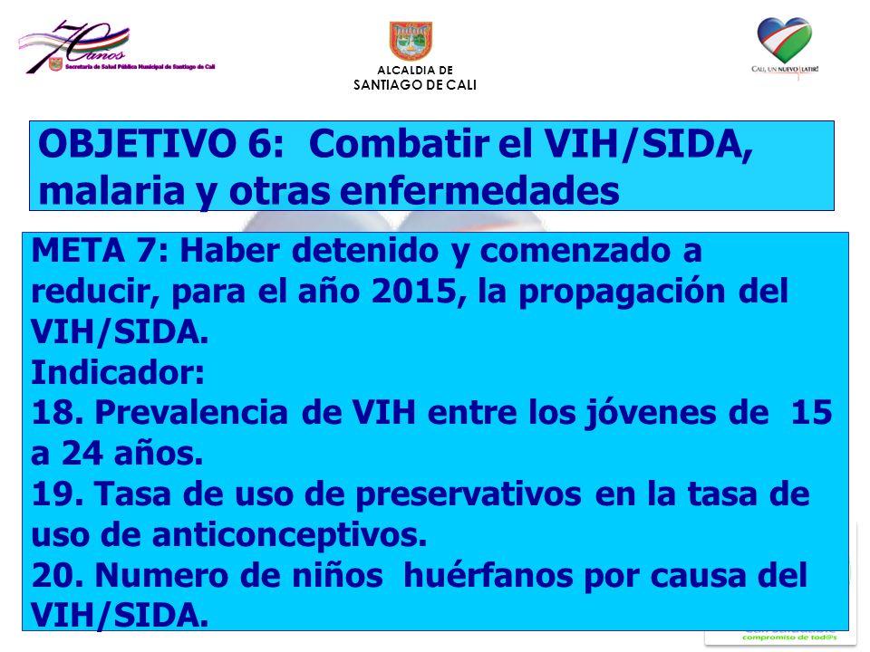 ALCALDIA DE SANTIAGO DE CALI OBJETIVO 6: Combatir el VIH/SIDA, malaria y otras enfermedades META 7: Haber detenido y comenzado a reducir, para el año