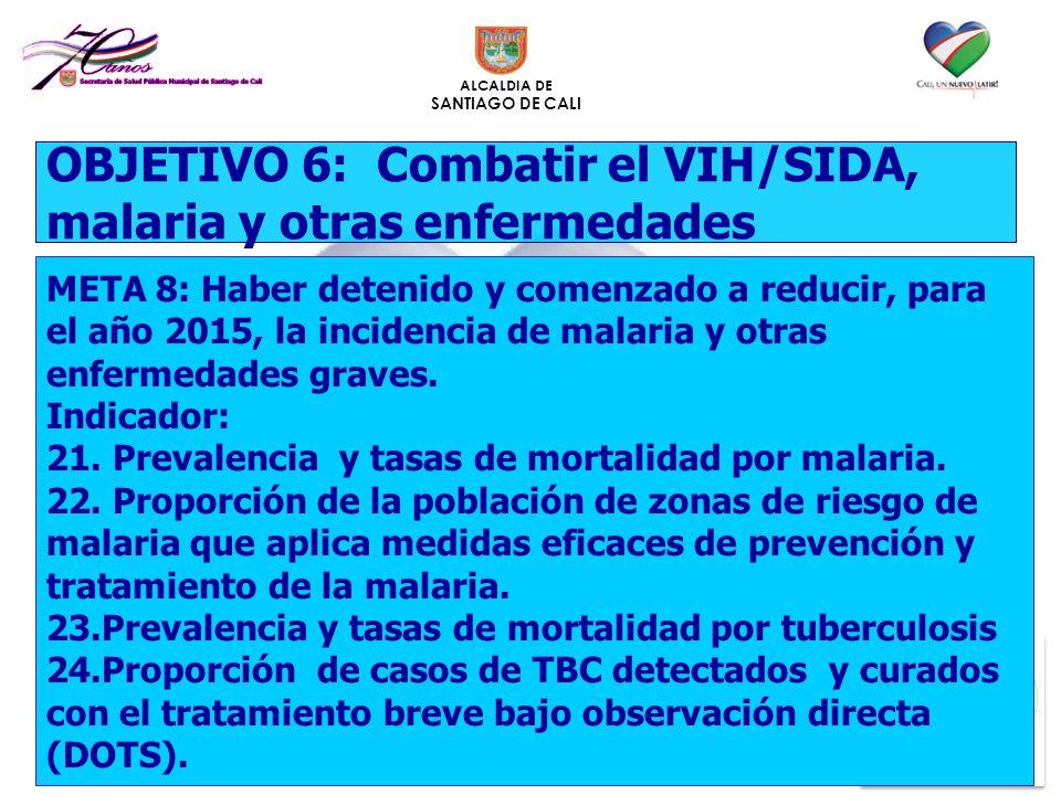 ALCALDIA DE SANTIAGO DE CALI META 8: Haber detenido y comenzado a reducir, para el año 2015, la incidencia de malaria y otras enfermedades graves. Ind