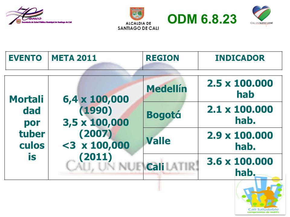 ALCALDIA DE SANTIAGO DE CALI Mortali dad por tuber culos is 6,4 x 100,000 (1990) 3,5 x 100,000 (2007) <3 x 100,000 (2011) Medell í n 2.5 x 100.000 hab