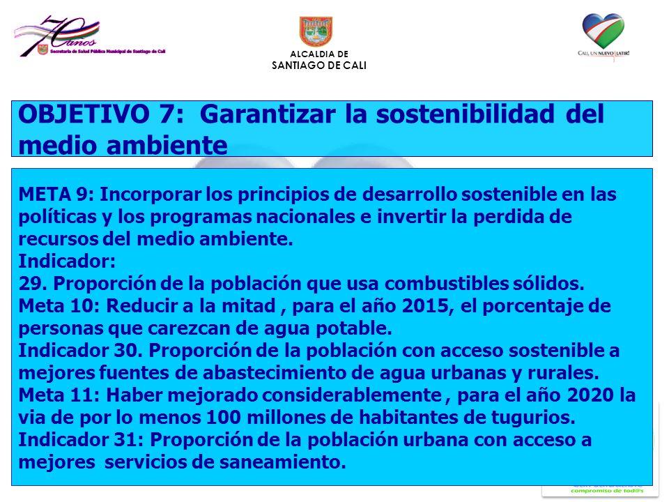 ALCALDIA DE SANTIAGO DE CALI OBJETIVO 7: Garantizar la sostenibilidad del medio ambiente META 9: Incorporar los principios de desarrollo sostenible en