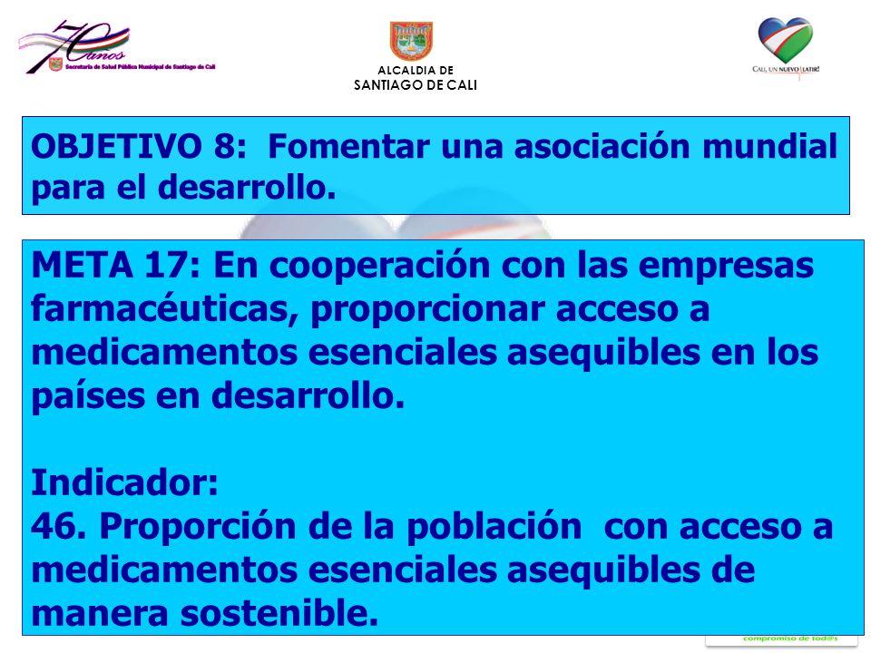 ALCALDIA DE SANTIAGO DE CALI OBJETIVO 8: Fomentar una asociación mundial para el desarrollo. META 17: En cooperación con las empresas farmacéuticas, p