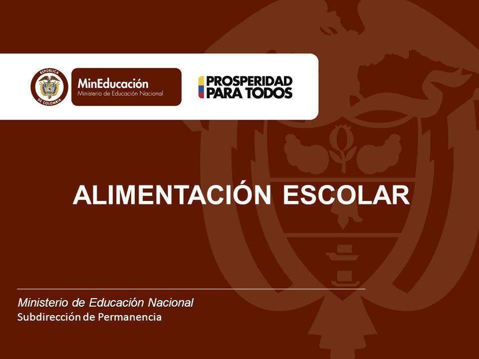 Ministerio de Educación Nacional Subdirección de Permanencia ALIMENTACIÓN ESCOLAR
