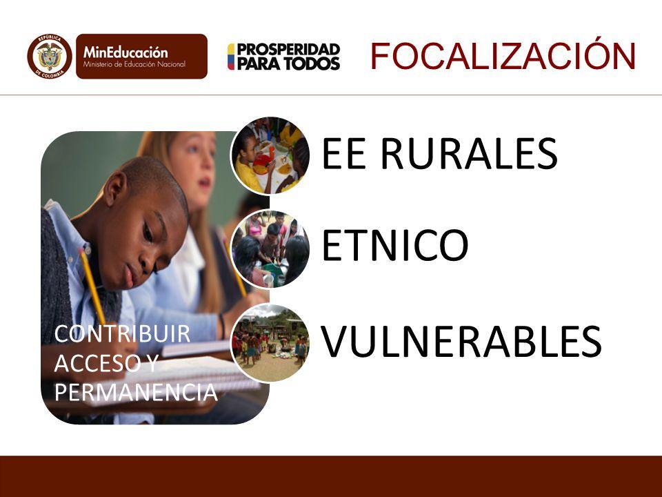 FOCALIZACIÓN CONTRIBUIR ACCESO Y PERMANENCIA EE RURALES ETNICO VULNERABLES