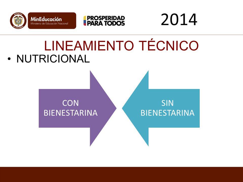 LINEAMIENTO TÉCNICO NUTRICIONAL 2014 CON BIENESTARINA SIN BIENESTARINA