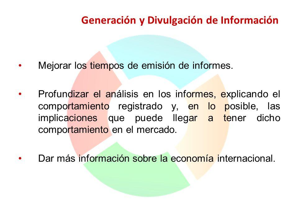 Generación y Divulgación de Información Mejorar los tiempos de emisión de informes. Profundizar el análisis en los informes, explicando el comportamie