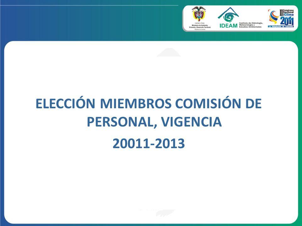 ELECCIÓN MIEMBROS COMISIÓN DE PERSONAL, VIGENCIA 20011-2013