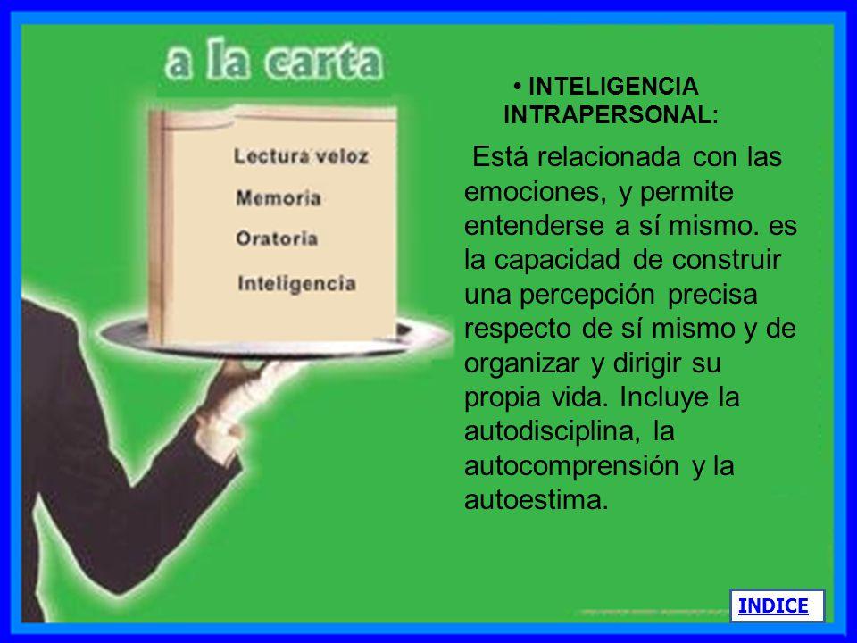 INTELIGENCIA CORPORAL CINESTÉSICA: Capacidad de controlar y coordinar los movimientos del cuerpo para la expresión de ideas y sentimientos, y la facil