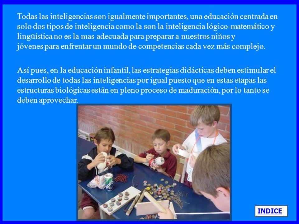 INDICE La institución hará esfuerzos por proporcionar una gama de alternativas para desarrollar las inteligencias de cada quien, tratando de eliminar