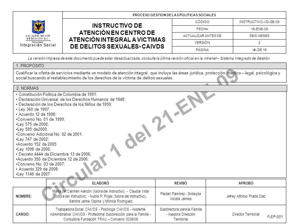PROCESO GESTION DE LAS POLITICAS SOCIALES INSTRUCTIVO DE ATENCIÓN EN CENTRO DE ATENCIÓN INTEGRAL A VICTIMAS DE DELITOS SEXUALES- CAIVDS CÓDIGOINSTRUCTIVO-VD-GE-09 FECHA15-ENE-09 ACTUALIZAR ANTES DESEIS MESES VERSIÓN2 PÁGINA# DE 16 La versión impresa de este documento puede estar desactualizada, consulte la última versión oficial en la intranet – Sistema Integrado de Gestión F-EP-001 Circular 1 del 21-ENE-09 Cualificar la oferta de servicios mediante un modelo de atención integral, que incluye las áreas jurídica, protección, médico – legal, psicológica y social buscando el restablecimiento de los derechos de la víctima de delitos sexuales.