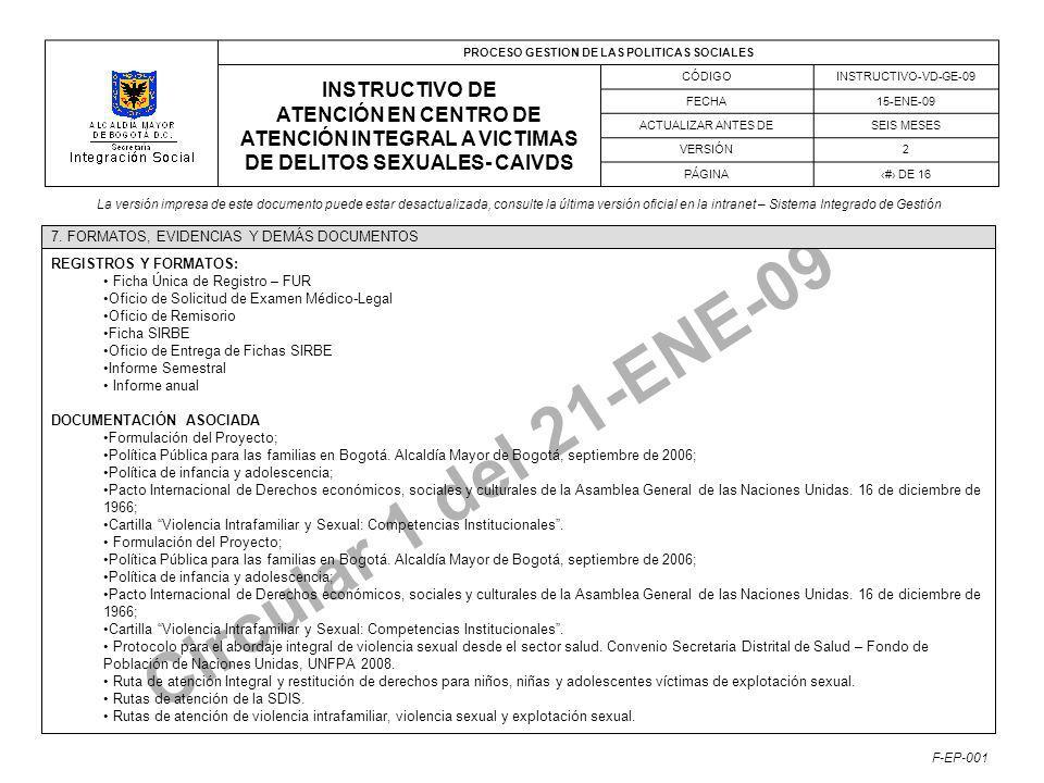 PROCESO GESTION DE LAS POLITICAS SOCIALES INSTRUCTIVO DE ATENCIÓN EN CENTRO DE ATENCIÓN INTEGRAL A VICTIMAS DE DELITOS SEXUALES- CAIVDS CÓDIGOINSTRUCTIVO-VD-GE-09 FECHA15-ENE-09 ACTUALIZAR ANTES DESEIS MESES VERSIÓN2 PÁGINA# DE 16 La versión impresa de este documento puede estar desactualizada, consulte la última versión oficial en la intranet – Sistema Integrado de Gestión F-EP-001 Circular 1 del 21-ENE-09 REGISTROS Y FORMATOS: Ficha Única de Registro – FUR Oficio de Solicitud de Examen Médico-Legal Oficio de Remisorio Ficha SIRBE Oficio de Entrega de Fichas SIRBE Informe Semestral Informe anual DOCUMENTACIÓN ASOCIADA Formulación del Proyecto; Política Pública para las familias en Bogotá.