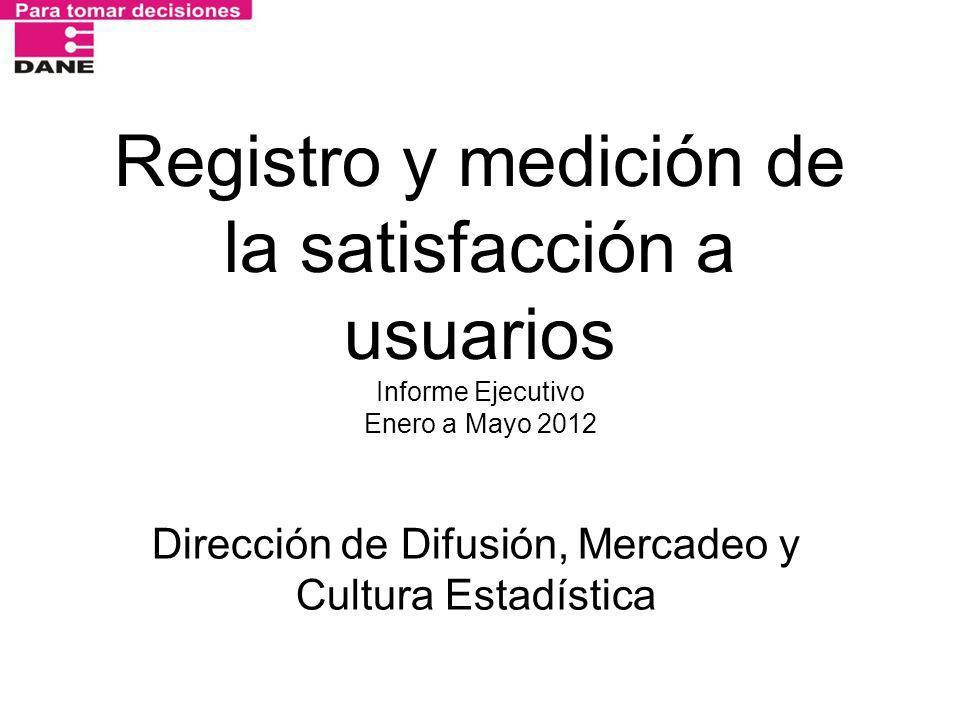 Registro y medición de la satisfacción a usuarios Informe Ejecutivo Enero a Mayo 2012 Dirección de Difusión, Mercadeo y Cultura Estadística