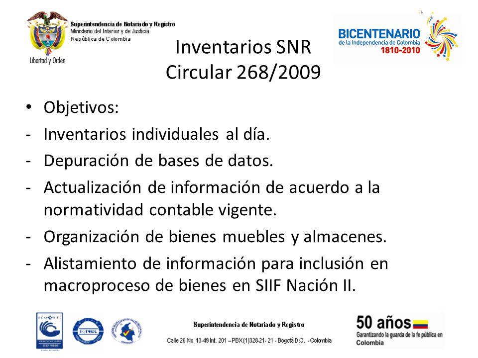 Inventarios SNR Circular 268/2009 Objetivos: -Inventarios individuales al día. -Depuración de bases de datos. -Actualización de información de acuerdo