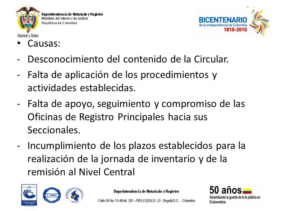 Causas: -Desconocimiento del contenido de la Circular. -Falta de aplicación de los procedimientos y actividades establecidas. -Falta de apoyo, seguimi
