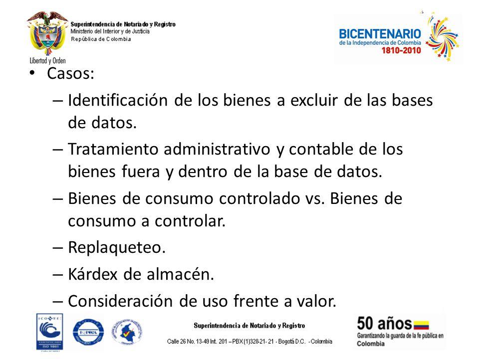 Casos: – Identificación de los bienes a excluir de las bases de datos. – Tratamiento administrativo y contable de los bienes fuera y dentro de la base