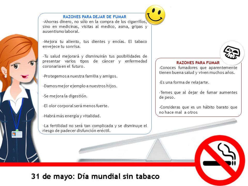 RAZONES PARA FUMAR - Conoces fumadores que aparentemente tienen buena salud y viven muchos años. - Es una forma de relajarte. - Temes que al dejar de