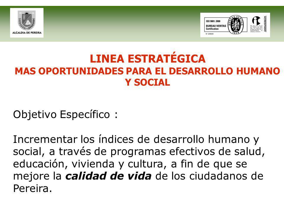 LINEA ESTRATÉGICA MAS OPORTUNIDADES PARA EL DESARROLLO HUMANO Y SOCIAL Objetivo Específico : Incrementar los índices de desarrollo humano y social, a través de programas efectivos de salud, educación, vivienda y cultura, a fin de que se mejore la calidad de vida de los ciudadanos de Pereira.
