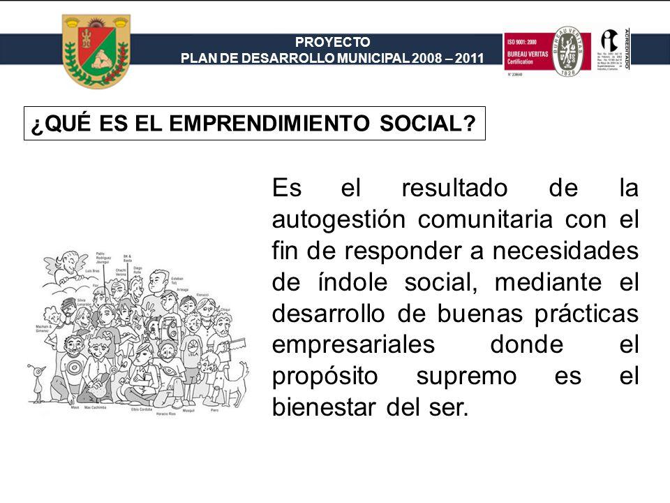 PROYECTO PLAN DE DESARROLLO MUNICIPAL 2008 – 2011 ¿QUÉ ES EL EMPRENDIMIENTO SOCIAL.