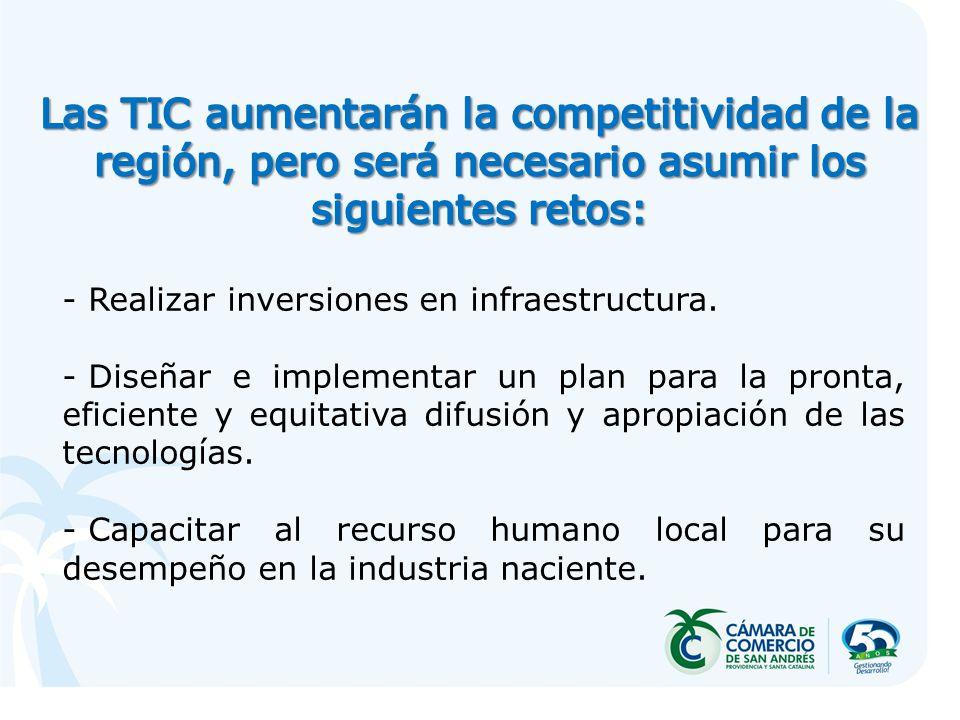 - Realizar inversiones en infraestructura. - Diseñar e implementar un plan para la pronta, eficiente y equitativa difusión y apropiación de las tecnol