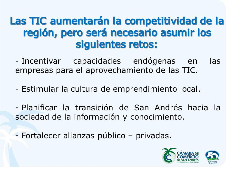 - Incentivar capacidades endógenas en las empresas para el aprovechamiento de las TIC. - Estimular la cultura de emprendimiento local. - Planificar la