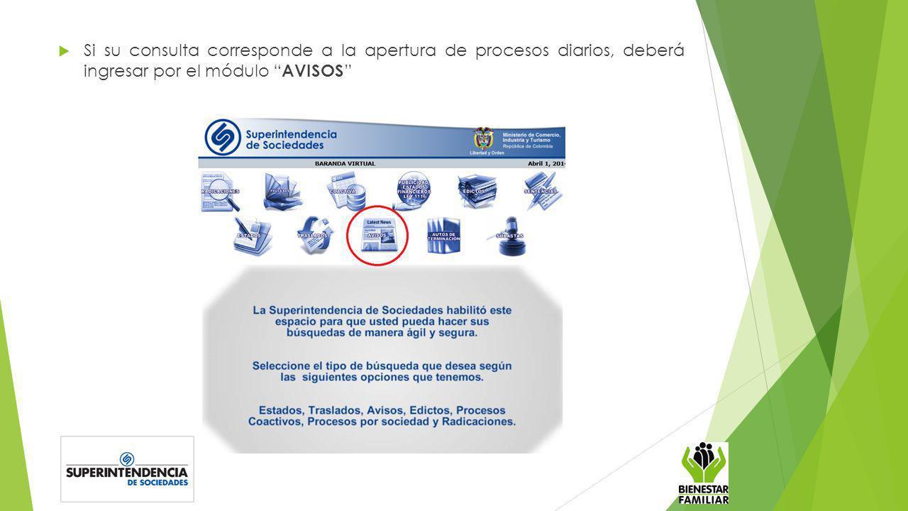 Si su consulta corresponde a la apertura de procesos diarios, deberá ingresar por el módulo AVISOS