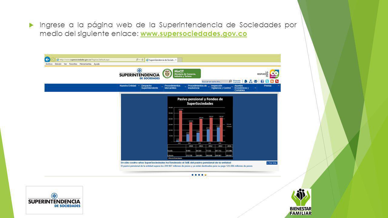 Ingrese a la página web de la Superintendencia de Sociedades por medio del siguiente enlace: www.supersociedades.gov.co www.supersociedades.gov.co