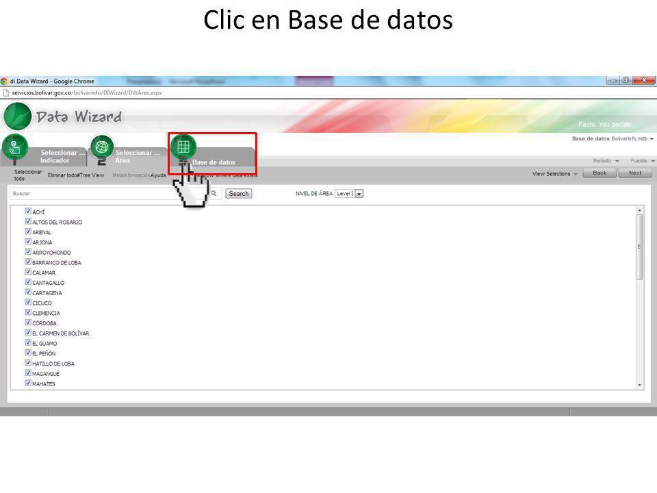 Clic en Base de datos