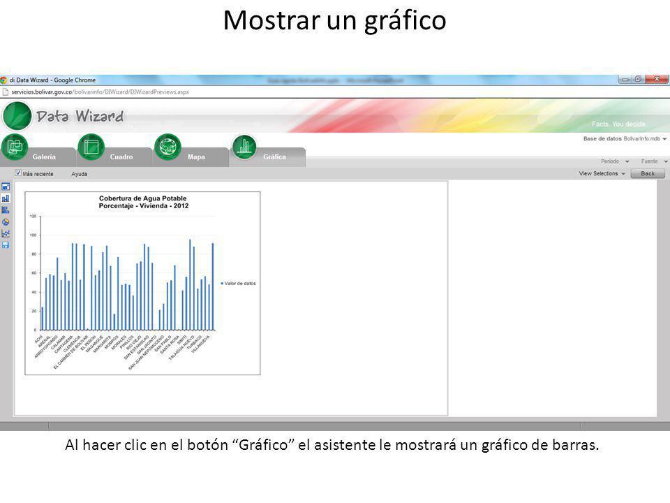 Mostrar un gráfico Al hacer clic en el botón Gráfico el asistente le mostrará un gráfico de barras.