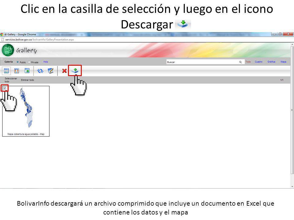 Clic en la casilla de selección y luego en el icono Descargar BolivarInfo descargará un archivo comprimido que incluye un documento en Excel que contiene los datos y el mapa