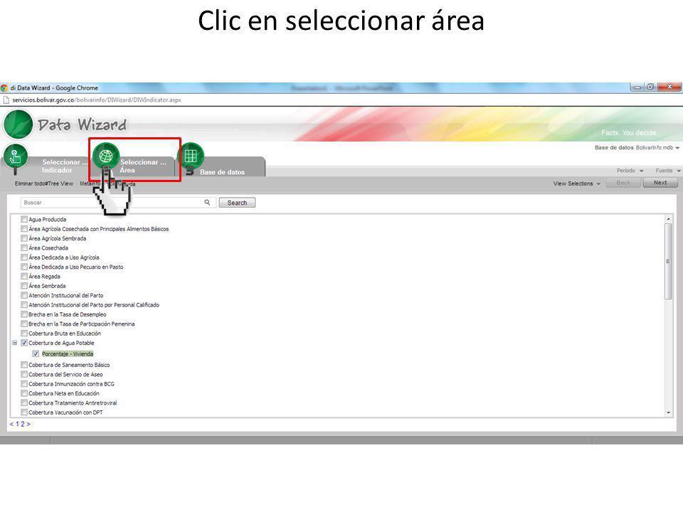 Clic en seleccionar área