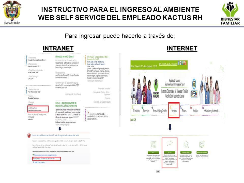 INSTRUCTIVO PARA EL INGRESO AL AMBIENTE WEB SELF SERVICE DEL EMPLEADO KACTUS RH Para ingresar puede hacerlo a través de: INTRANETINTERNET