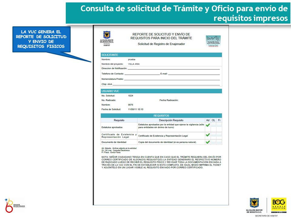 LA VUC GENERA EL REPORTE DE SOLICITUD Y ENVIO DE REQUISITOS FISICOS Consulta de solicitud de Trámite y Oficio para envío de requisitos impresos