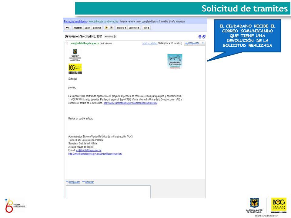 EL CIUDADANO RECIBE EL CORREO COMUNICANDO QUE TIENE UNA DEVOLUCIÓN DE LA SOLICITUD REALIZADA Solicitud de tramites
