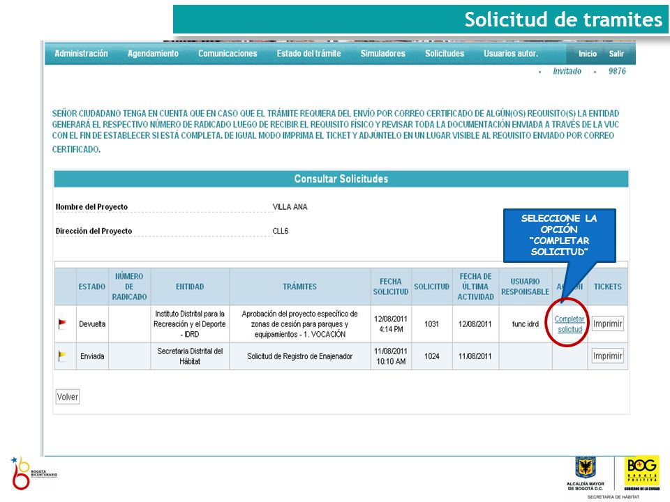 SELECCIONE LA OPCIÓN COMPLETAR SOLICITUD