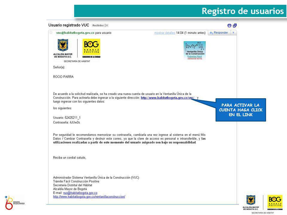 Registro de usuarios PARA ACTIVAR LA CUENTA HAGA CLICK EN EL LINK