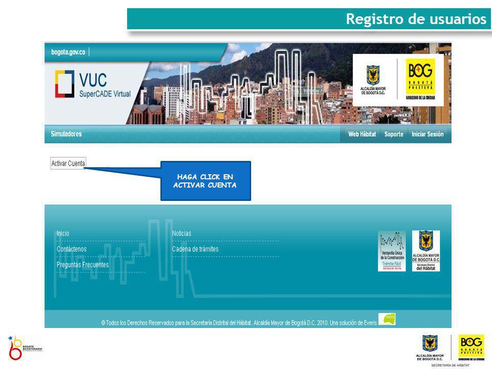 Registro de usuarios HAGA CLICK EN ACTIVAR CUENTA
