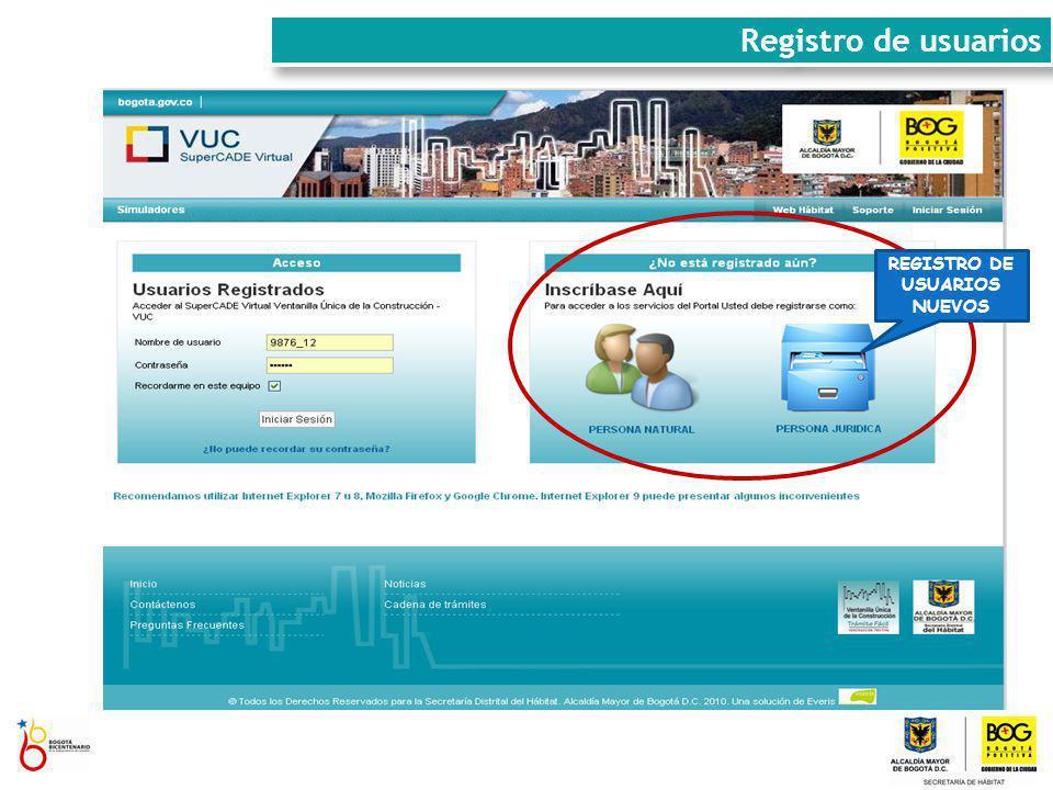 REGISTRO DE USUARIOS NUEVOS Registro de usuarios