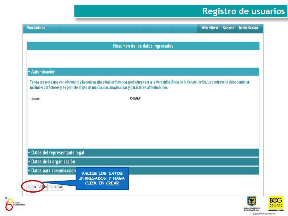 VALIDE LOS DATOS INGRESADOS Y HAGA CLICK EN CREAR Registro de usuarios
